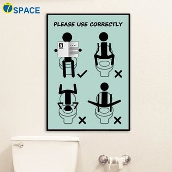 Bathroom Wall Art: Bathroom Humor Wall Art Prints on Canvas