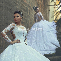 Vestido De Noiva Charming Lace Sheer Long Sleeve Ball Gown Wedding Dresses 2016 Long Bridal Casamento Robe De Mariage z90803