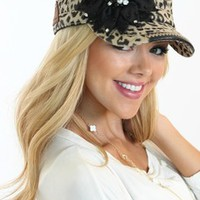Leopard Black Floral Bling Hat