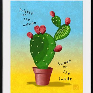 Sabra Cactus In A Pot Print Wall Art