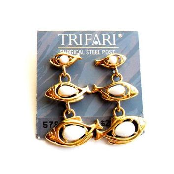 Vintage Trifari Fish Earrings Post Back Pierced Dangle White Lucite Gold Tone 1980s Surgical Steel Gold Tone Metal NWT Dead Stock