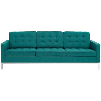 THOMAS UPHOLSTERED FABRIC SOFA IN TEAL