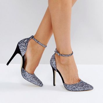 London Rebel 2 Part Glitter Point High Heels at asos.com