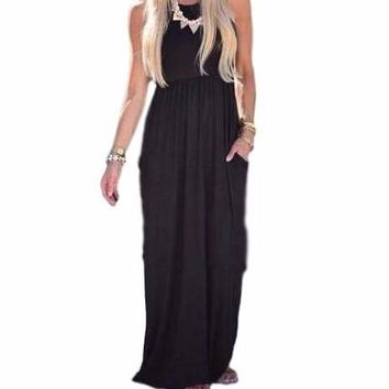 Women's Black Sleeveless Empire Waist Long Maxi Dress with Pockets