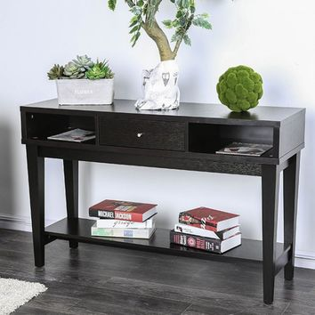 Furniture of america CM4086S Delores espresso finish wood sofa entry console table with drawer