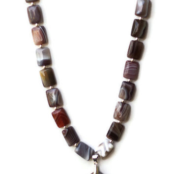 Natural Semiprecious Botswana Agate Statement Pendant Necklace/ Grey White Beige Fawn Brown Taupe Necklace/ Formal Necklace/ OOAK Unique
