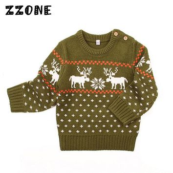 6M-24M Baby Girls/Boys Deer Pattern Winter Knitted Clothes Boys/Girls O-Neck Pullovers Sweaters Newborn Kids Dot Jumper,DC509