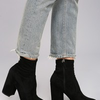 Steve Madden Gaze Black Suede Mid-Calf Booties
