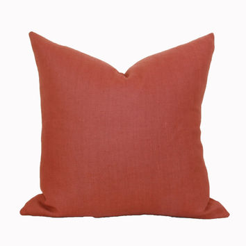 Rust linen pillow cover 18x18 20x20 22x22 24x24 26x26 Euro sham Lumbar Fall pillow Brick Orange Terra Cotta 12x20 12x24 14x26 16x24 16x26