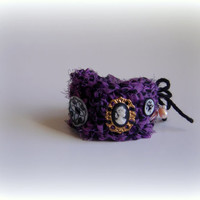 bracelet boho wrap valentine gypsy boho bohemian fabric handmade bracelet crochet ecofriendly prom gift heart bogo purple black golden color
