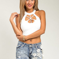 White Cut Out Crop Top