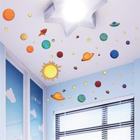 Solar System Universe Wall Stickers For Kids Room Nursery PVC Posters Wall Decals Art Poster Space Galaxy Boys Bedroom Graphic