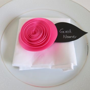 6 Neon Pink Ranunculus (Buttercup) Place Cards, Chalkboard Paper Leaf, Seating Arrangement, Guest Name Tags