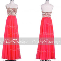Coral Prom Dresses, 2014 Prom Gown, Strapless Sweetheart with Sequin Long Chiffon Coral Prom Dresses, Coral Formal Dresses