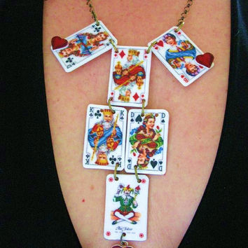 Vintage Playing Cards Statement Necklace by whatanovelidea on Etsy