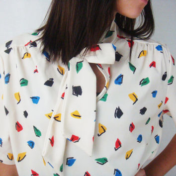Vintage Geometric Top- Shortsleeve Top - Retro Top - Mod Top - Secretary Blouse - Ascot Blouse - Small