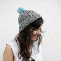 Hand Knit Beanie, Warm Winter Wear, Chunky Grey Beanie, Mint Pom Pom, Christmas Gift, Ski Hat, Cable Knit Hat