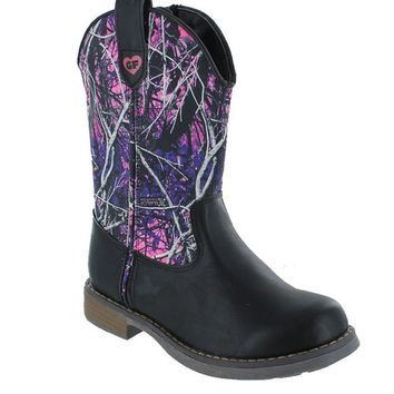 Gotta Flurt Girls Muddy Girl Wrangler Boot, Black, Youth 4