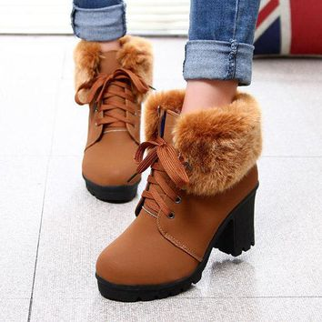 Block Fur Lining Ankle Chunky Heel Lace Up Boots