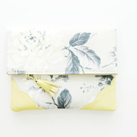 FLORIST 14 / Floral satin & Natural leather folded clutch - Ready to Ship