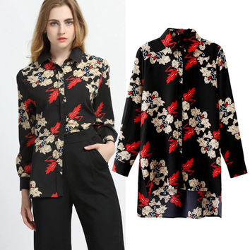 Autumn Floral Print Long Sleeve Shirt [8805278471]