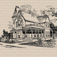 Vintage Clip Art Image – Vintage Architecture – Victorian House from 1917 book – Printable Graphic  – instant download - CU OK img 1007