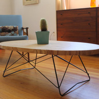 "Mid Century Oval Coffee Table 32"" by 20"" custom small base"