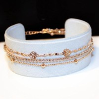Crystal Rose Flower Chain Bracelet Gold-color New Fashion Jewelry Bracelets For Women Bijoux Multi-layer Cute Gift