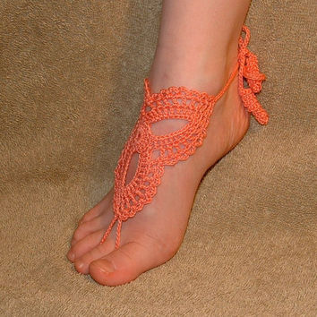 Crochet, Children's ,Girl's, Accessories, Barefoot Sandals, Wedding, Shoes, Footless, Beach, Jewelry, Footwear