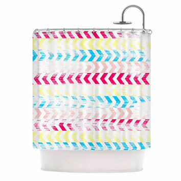 "Louise Machado ""Arrow"" Magenta Art Deco Shower Curtain"