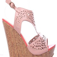 OFF PINK FAUX LEATHER CUTOUTS OPEN TOE SLING STRAP PLATFORM WEDGE