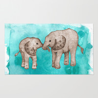 Baby Elephant Love - sepia on watercolor teal Rug by Perrin Le Feuvre | Society6