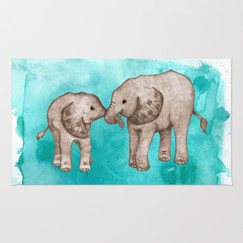 Baby Elephant Love - sepia on watercolor teal Rug by Perrin Le Feuvre   Society6