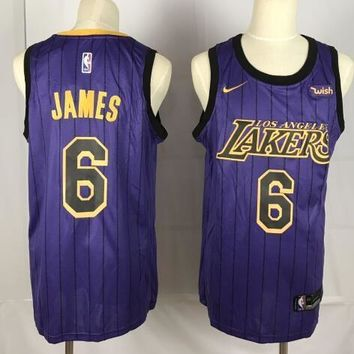 Nike Los Angeles Lakers #6 LeBron James Jersey Purple City