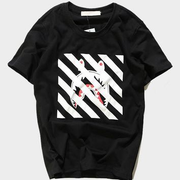 cc qiyif A Bathing Ape Bape x Off White Black T-Shirt
