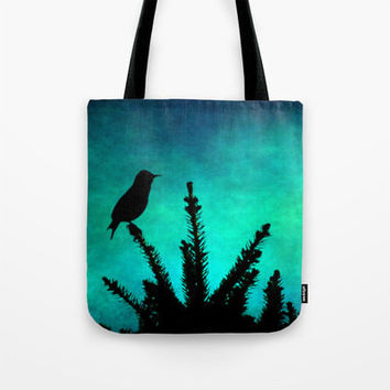 Teal Bird Silhouette fine art photography Tote Beach Bag Modern photograph Aqua blue green texture black tree silhouette texture colorful