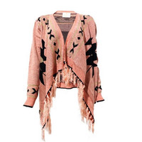 Knitted Aztec Blanket Wrap Multifunctional Cardigan with Tassled Trim for Girls