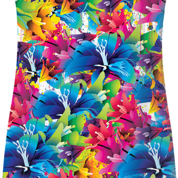 Vector flowers themed simple dress, floral pattern girls sexy clothing, colorful spring