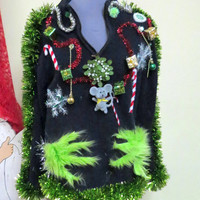 Grinch Me Tacky Ugly Christmas Sweater Garland Trim Furry Lime Green Hands Unisex Sz L  Ready To Ship!