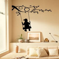 Wall Decals Kids On Swing Tree Decor Branch Decal Vinyl Sticker Bedroom Living Room Home Art Mural Os283