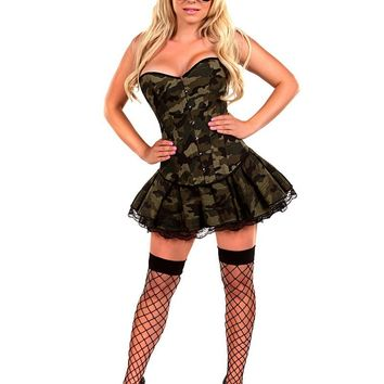 MOONIGHT Camouflage Corset Dress Army Military Uniform Fancy Dress Cosplay Carnaval Costume Women Adult Sexy Halloween Costumes