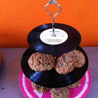 3 Tier ROCK N ROLL Party Vinyl Record LP Cake, Cupcake and Dessert Treat Stand Display
