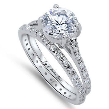 A Perfect 2.3CT Round Cut Russian Lab Diamond Bridal Set Wedding Band Ring