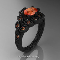 Art Masters Nature Inspired 14K Black Gold 1.0 Ct Oval Orange Sapphire Leaf and Vine Solitaire Ring R267-14KBGOS