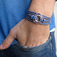 Men's Bracelet - Men's Nautical Bracelet - Men's Blue And White Bracelet - Men's Jewelry - Bracelets For Men - Gift for Him