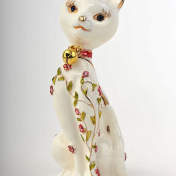 White Cat  with Flower Decorations Faberge Styled Trinket Box Handmade by Keren Kopal Enamel Painted Decorated with Swarovski Crystals