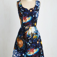 Cosmic Short Length Tank top (2 thick straps) Fit & Flare Heart and Solar System Dress by ModCloth