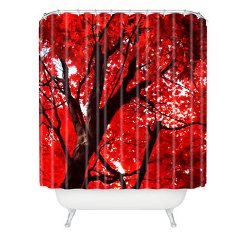 Happee Monkee Red Canopy Shower Curtain