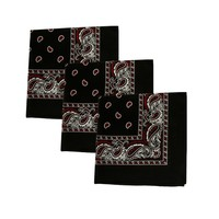 Set of 3 Mechaly Paisley 100% Cotton Black & Red Vegan Bandanas