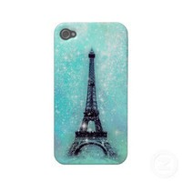 Eiffel Tower Turquoise Iphone 4 Case-mate Cases from Zazzle.com